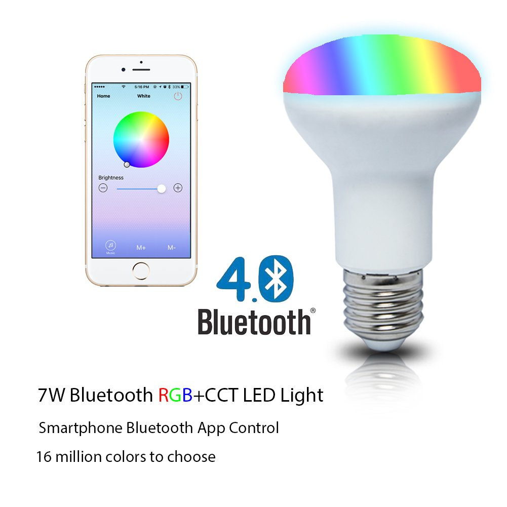 smartphone controlled lighting. SHYU 7W Bluetooth Smart Led Flood Light Bulb-Smartphone Controlled Dimmable Multicolored Color Changing Lights-Works With IPhone, IPad, Android Phone And Smartphone Lighting U