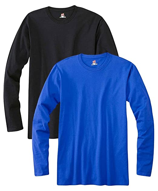 d10d2e8e Amazon.com: Hanes mens 4.5 oz. 100% Ringspun Cotton nano-T Long-Sleeve T- Shirt(498L)-BLACK/DEEP ROYAL-S: Clothing