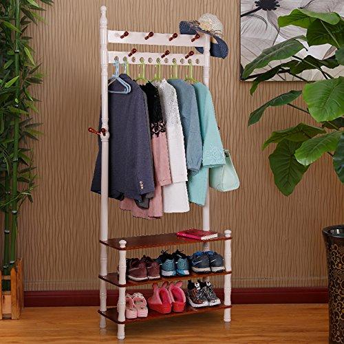 Solid wood floor coat rack hanger hanger indoor hall rack rack coat and shoes rack,Section