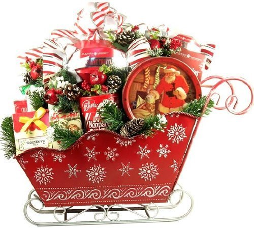 A BIG Sleigh Load of Surprises | Deluxe Christmas Holiday Gift Basket | Candy, Cookies & Chocolate & More Petite European Gift Basket