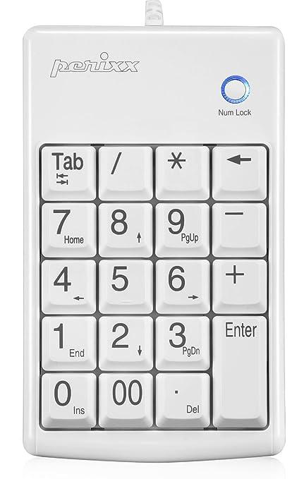 Perixx PERIPAD-201PLUS - Teclado numérico para ordenador portátil, color blanco