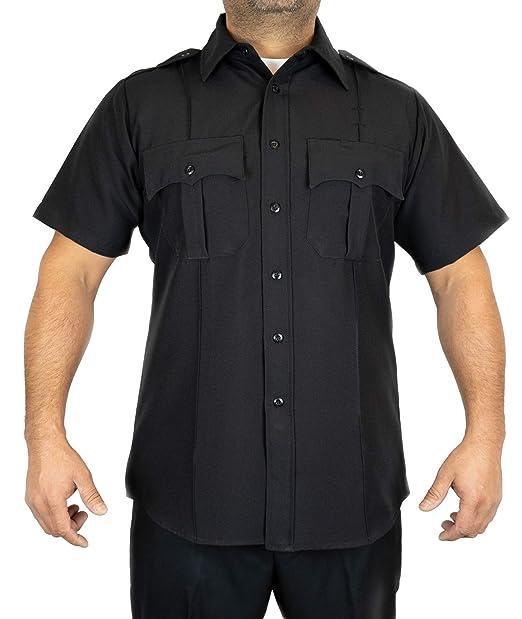 f087e1ba52be Amazon.com: First Class 100% Polyester Short-Sleeve Men's Uniform Shirt  Black (Large, Black): Civil Service Uniforms Shirts: Clothing