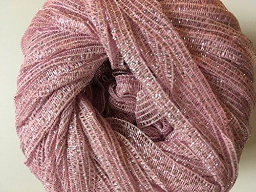 Crystal Nylon Yarn (Crystal Palace Deco Stardust Ribbon Yarn #4001 Petal Pink / Silver)