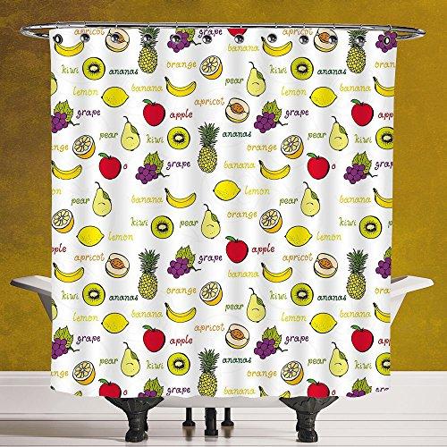 Cool Shower Curtain 3.0 by SCOCICI [ Fruits,Kiwi Banana Plums Lemon Orange Pear Grape Apricot Kitchen Food Print Decorative,Yellow Cream Purple Ruby ] Waterproof Polyester Fabric Decorative Bath (Siamese Ruby)