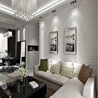 QIHANG 10m Thickening White Brick Wallpaper for Walls Rustic Tv Background Wall Paper White Color 0.53m10m=5.3m2