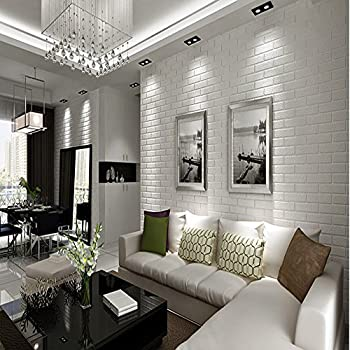 QIHANG 10m Thickening White Brick Wallpaper For Walls Rustic Tv Background Wall Paper Color 053