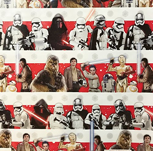 Star Wars Stripes Wrapping Paper Gift Wrap - Chewbacca, Kylo Ren, R2D2, C3PO (3.33 Feet Wide -- 40 Square Feet) -
