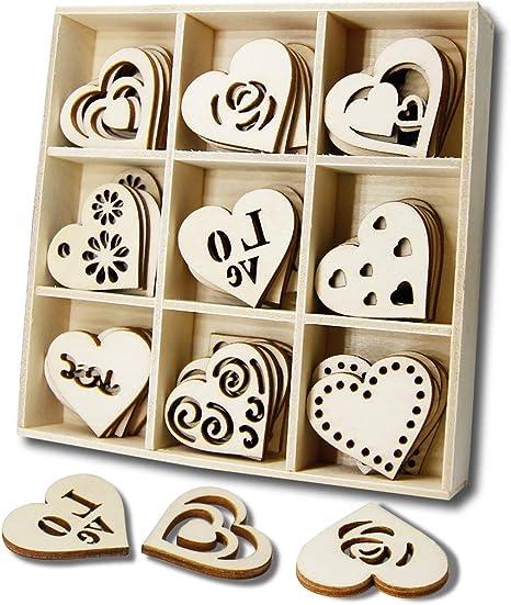 Adornos de madera en forma de corazón con agujero para ...