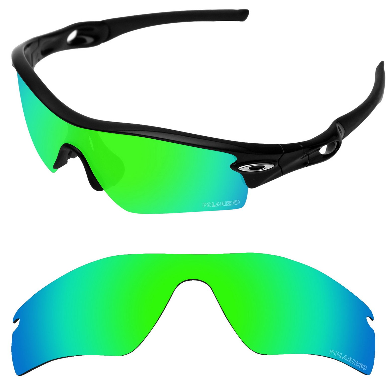 Tintart Performance Replacement Lenses for Oakley Radar Path Sunglass Polarized Etched-Emerald Green