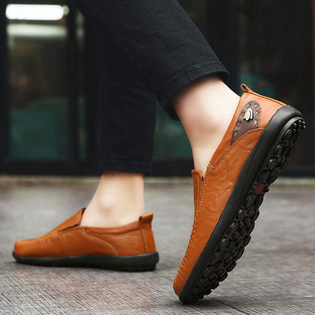 Boys Solid Breathable Loafers Shoes Male Round Toe Dress Shoes Peas Shoes Plus Size 7 to 11 Mosunx Athletic Mens Slip On Leather Shoes
