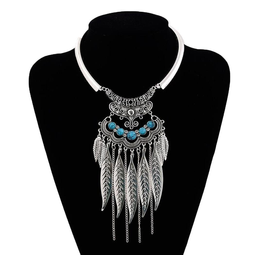 Women Fashion Bohemian Style Leaves Link Fringed Metal Collar Choker Necklace (Silver)