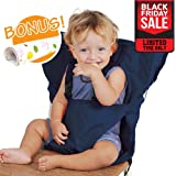 BLACK FRIDAY DEAL Baby HighChair Harness | Portable Travel Safety Belt Booster Feeding High Chair Seat Cover Sack Cushion Bag Baby Kid Toddler | Secure Adjustable Straps Hand Wash Cloth | Dark Blue