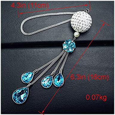 Luxury 3D Bling Fancy Hanging Crystal with Charm Car Ornament Decor Rear View Mirror Decoration Bling Car Accessories for Women Girls Interior Decorations Car Home Decor White Royalfox TM