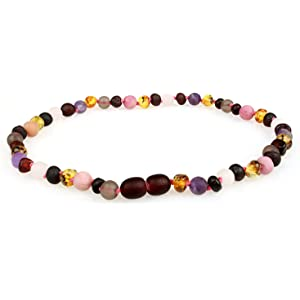 Lab-Tested Baltic Amber Teething Necklace for Babies With Gems 12.5 Inches Honey /& Quartz Mix Comes With Silicone Teething Necklace