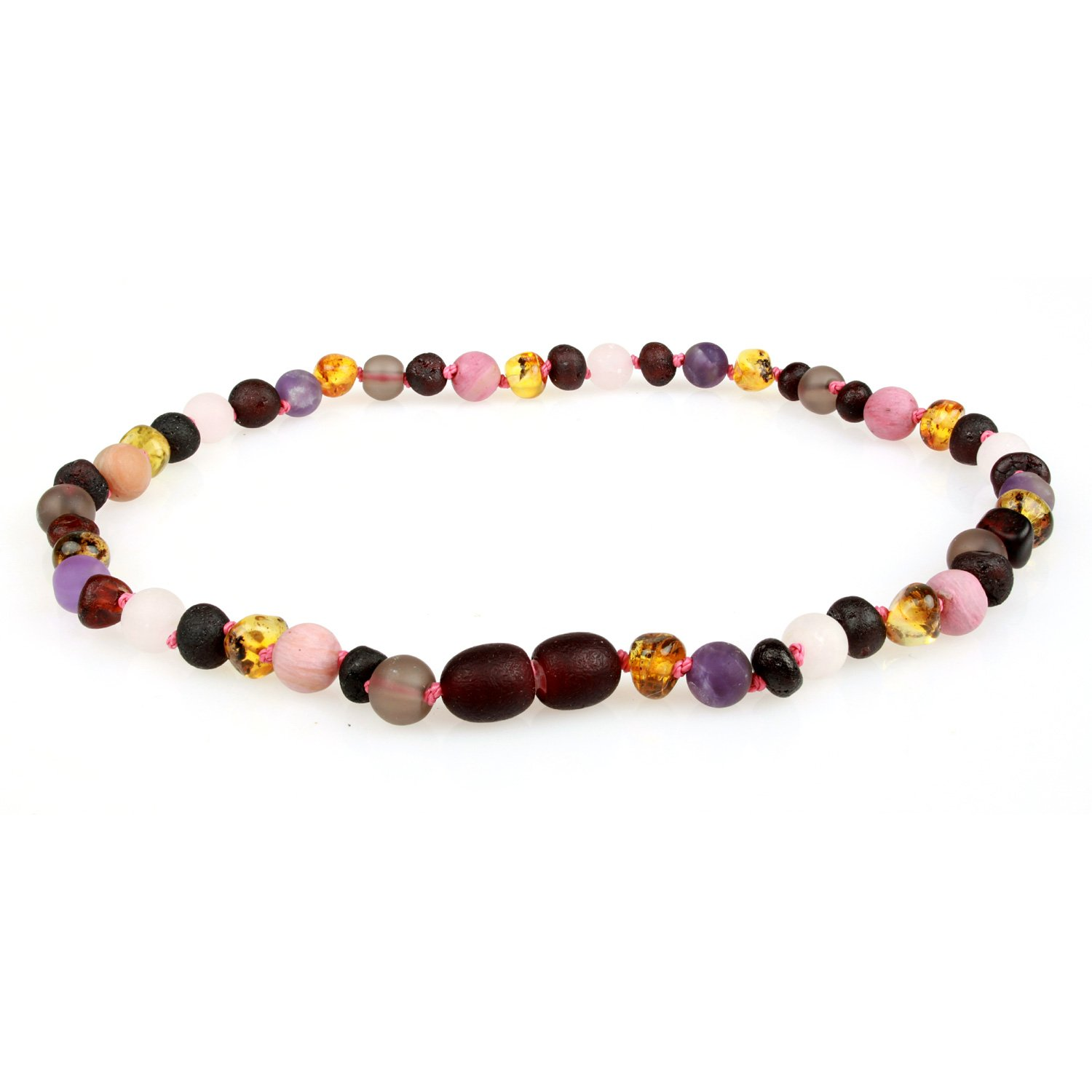 Baltic Amber Teething Necklace (Unisex, 12.5 Inches) with Semi-Precious Gemstones - Matte Smoky Quartz, Rhodonite, Matte Rose Quartz, Matte Amethyst. Lab-Tested, 100% Certified - Teething Pain Relief by Powell's Owls (Image #1)