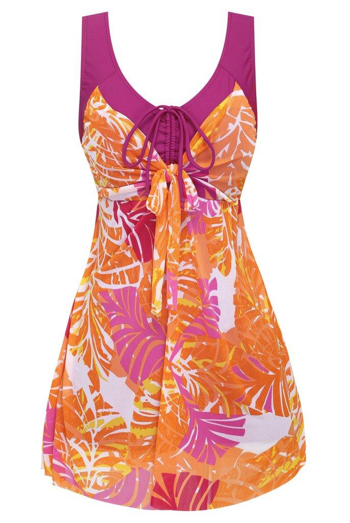 Wantdo Women's Plus Size Swimdress Flower Printed Swimwear Cover Up Swimsuits CaYZXSW3071