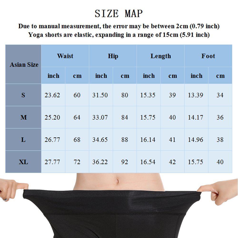 SUNNYBUY Women High Waist Spandex Shorts Tummy Control Workout Compression Shorts Running Yoga Shorts with Pockets