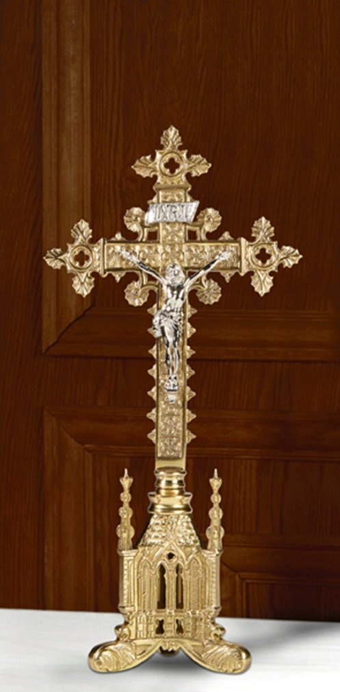 San Pietro Collection Polished Brass Standing Altar Crucifix, 17 Inch
