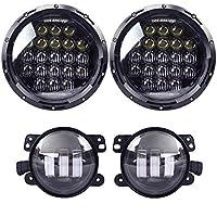 """COWONE 130w Philip 5D Lens 7"""" Daymaker LED Headlights + 4""""Cree LED Fog Lights for Jeep Wrangler 97-2017 JK TJ LJ"""