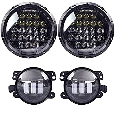 "COWONE 130w Philip 5D Lens 7"" Daymaker LED Headlights + 4""Cree LED Fog Lights for Jeep Wrangler 97-2017 JK TJ LJ"