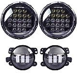 COWONE 130w Philip 5D Lens 7'' Daymaker LED Headlights + 4'' Cree LED Fog Lights for Jeep Wrangler 97-2017 JK TJ LJ