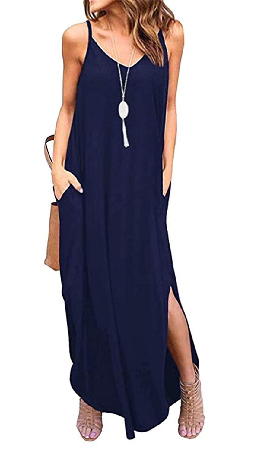 Navy bluee LAMISSCHE Womens Summer Casual Loose Dress Beach Cover Up Long Cami Maxi Dresses with Pocket