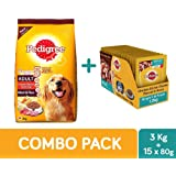 Pedigree Adult Dry Dog Food, Meat & Rice, 3 kg + Adult Wet Gravy, Chicken and Liver Chunks, 80 g (1.2 kg, 15 Pouches)