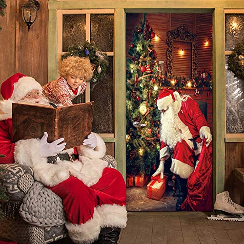 Quaanti 3D Merry Christmas Snow Christmas Tree Wall Art Removable Home Window Wall Stickers Santa Claus Door Stickers Decal Christmas Snowman Party Decor (C)
