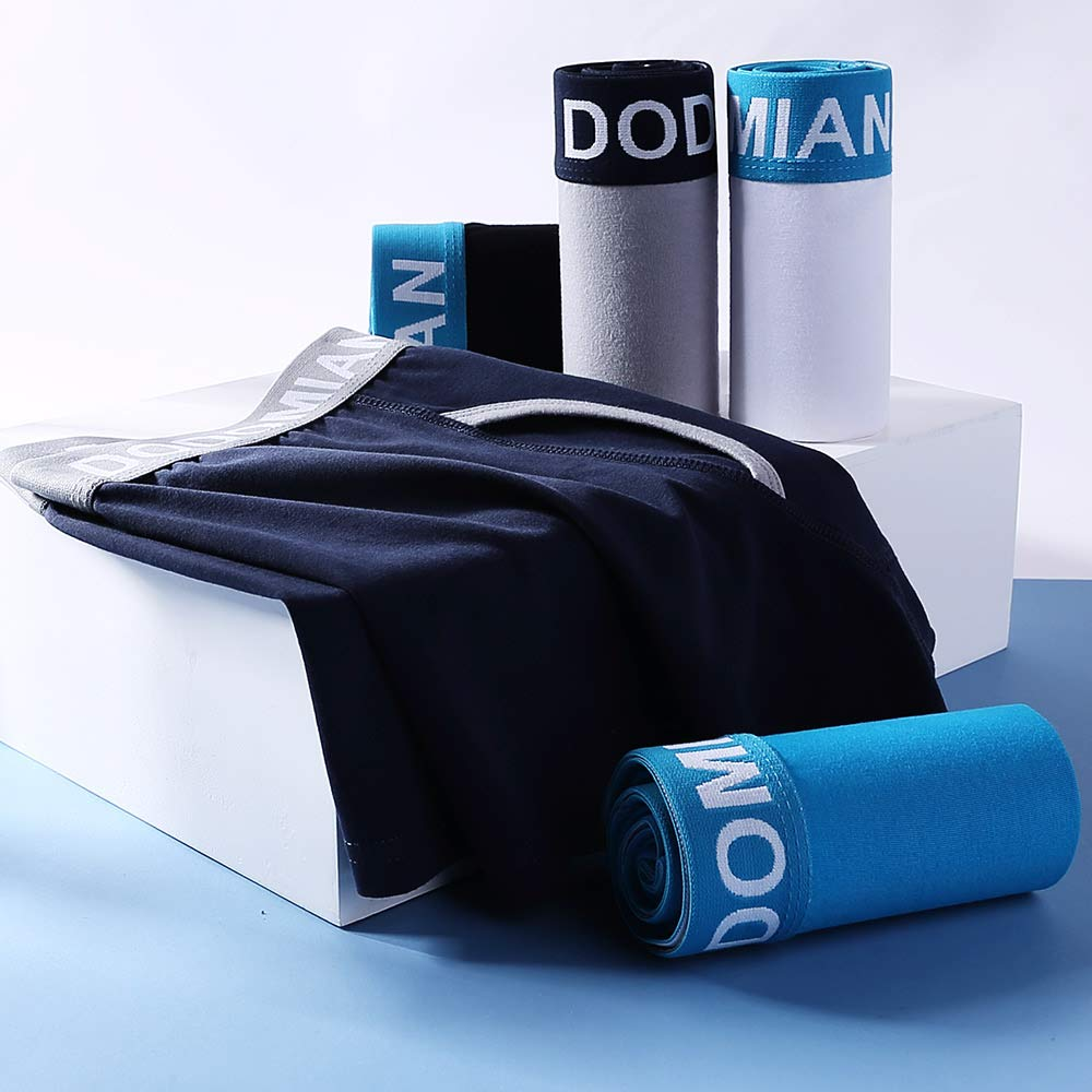 DODOMIAN Mens Boxer Shorts 5 Pack No Ride-up Cotton Trunks Underwear Open Fly with Pouch