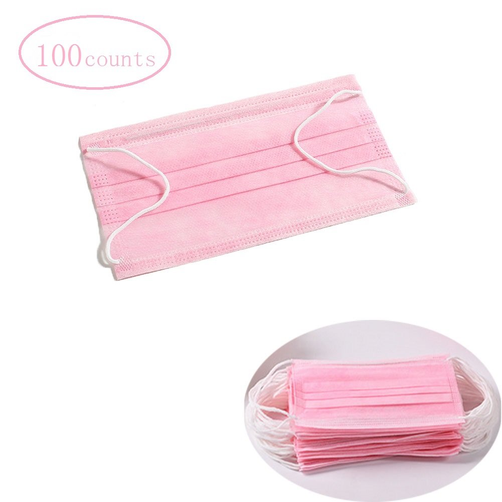 Pink 3-PLY Non-woven Fabric Medical Disposable Earloop Masks Dental Surgical Medical Face Masks 100 Pieces (2 BOX) | FDA APPROVED