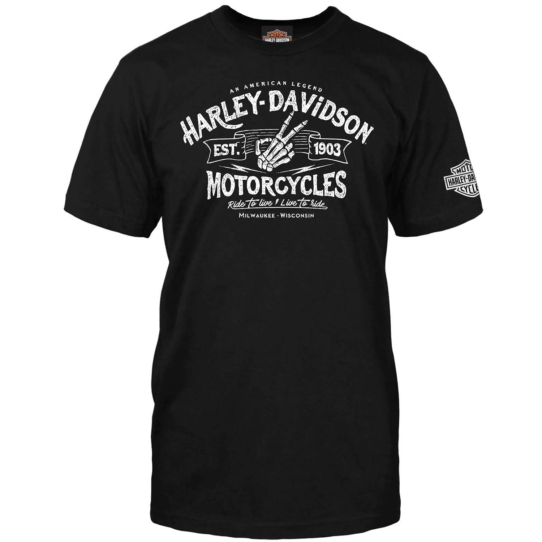 Harley-Davidson Military Mens Short-Sleeve Graphic T-Shirt NAS Sigonella Wave