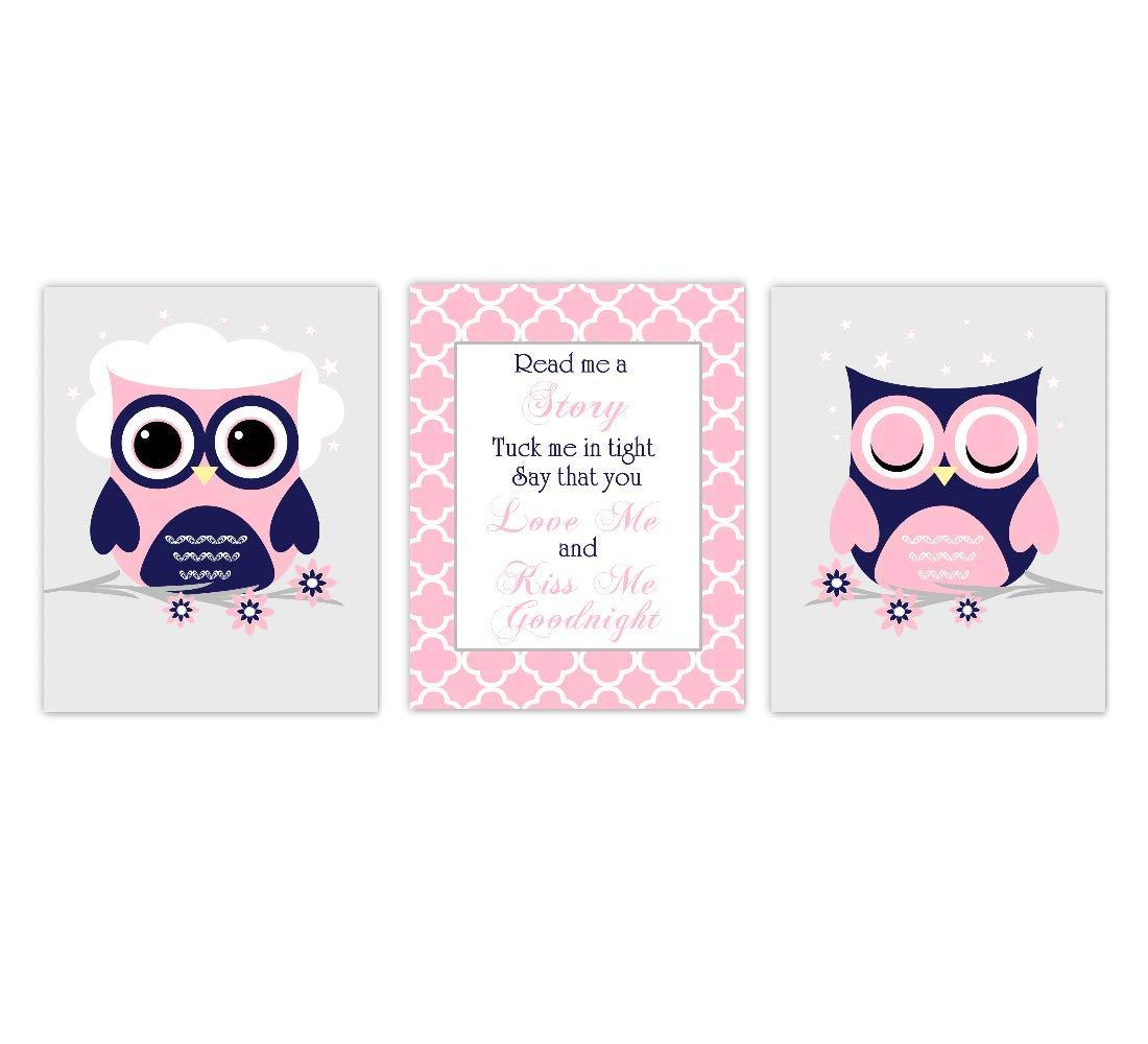 Owl Baby Girl Nursery Wall Art Pink Navy Blue Read Me A Story Kiss Me Goodnight Decor 3 UNFRAMED PRINTS