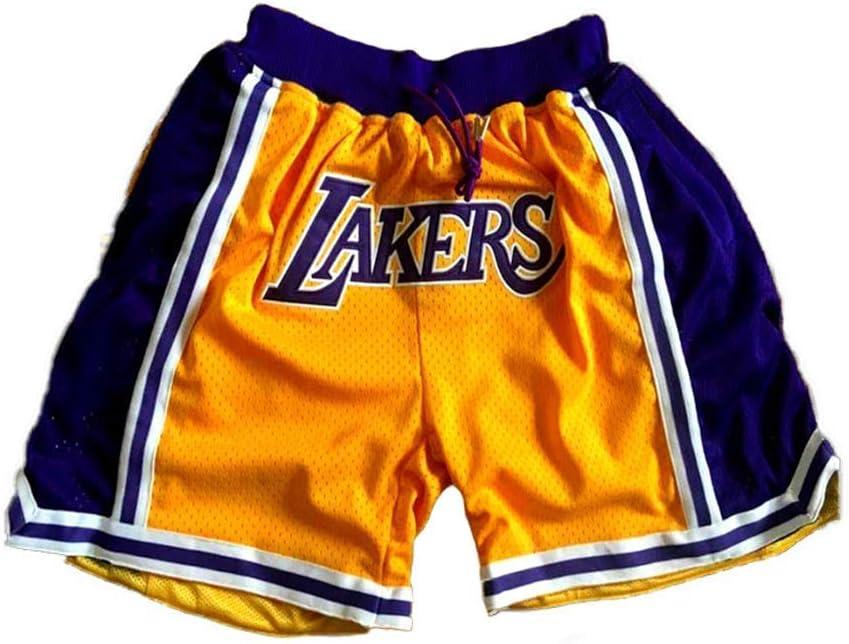 HEJX Pantalon de Basket-Ball brod/é r/étro Bulls Lakers Short de Fitness pour Homme et Femme