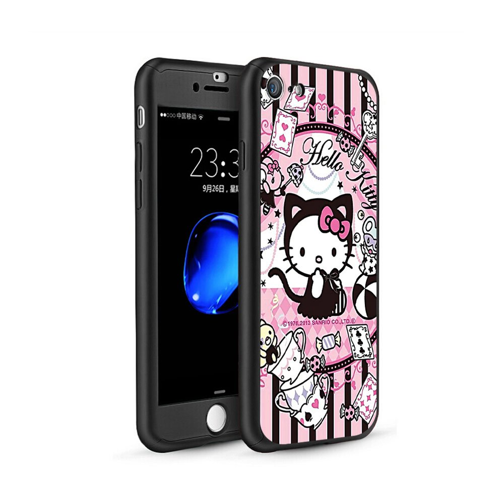 a299180bf GSPSTORE iPhone 5/5S/SE Case,Hello Kitty Cartoon 360 Full Body Protection  Slim Case with Tempered Glass Screen Protector Sling and Ring Holder for  Apple ...