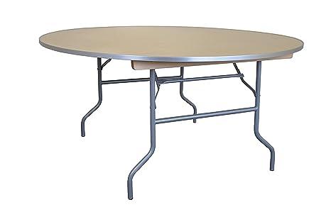 60 cm redondo mesa plegable de madera con borde de aluminio ...
