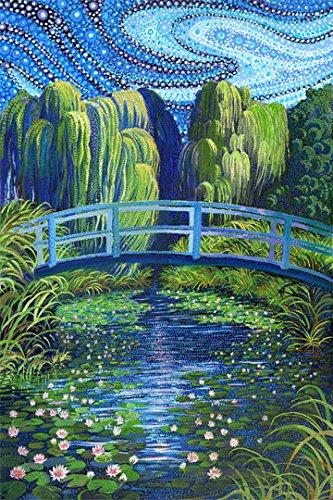 Artisan Spirit Water Garden Bridge Over Lagoon Panel 26 X 44 Northcott Cotton Fabric Digital (Garden Quilting Fabric)