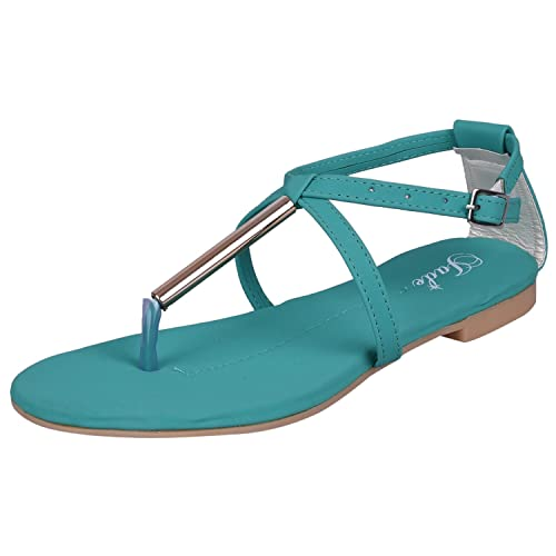 Jade women's Synthetic Leather Flat Fashion Sandals Fashion Sandals at amazon