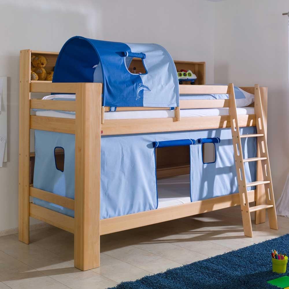 Kinderetagenbett aus Buche Massivholz Tunnel Blau Pharao24