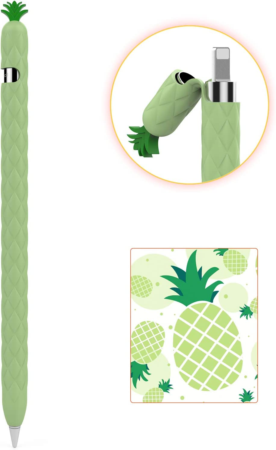 AhaStyle iPencil Case Sleeve Cute Fruit Design Silicone Soft Protective Cover Accessories Compatible with Apple Pencil 1st Generation(Avocado Green)