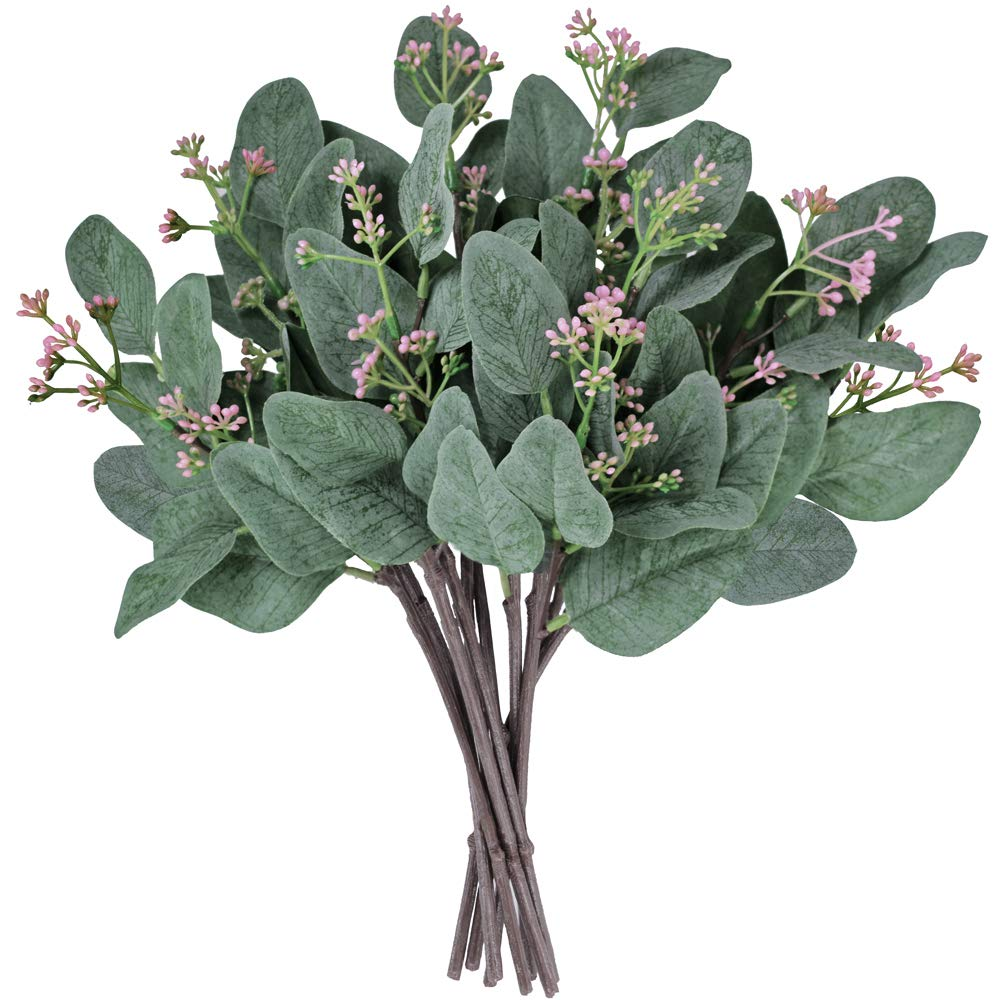 Supla-10-Pcs-Artificial-Eucalyptus-Leaves-Stems-Bulk-Artificial-Seeded-Eucalyptus-Leaves-Plant-in-Grey-Green-11-Tall-Artificial-Greenery-Holiday-Greens-Wedding-Greenery