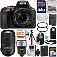 Nikon D5600 Wi-Fi Digital SLR Camera & 18-140mm VR DX AF-S Lens + 55-300mm VR Lens + 64GB Card + Case + Flash + Battery/Charger + Tripod + Filters Kit