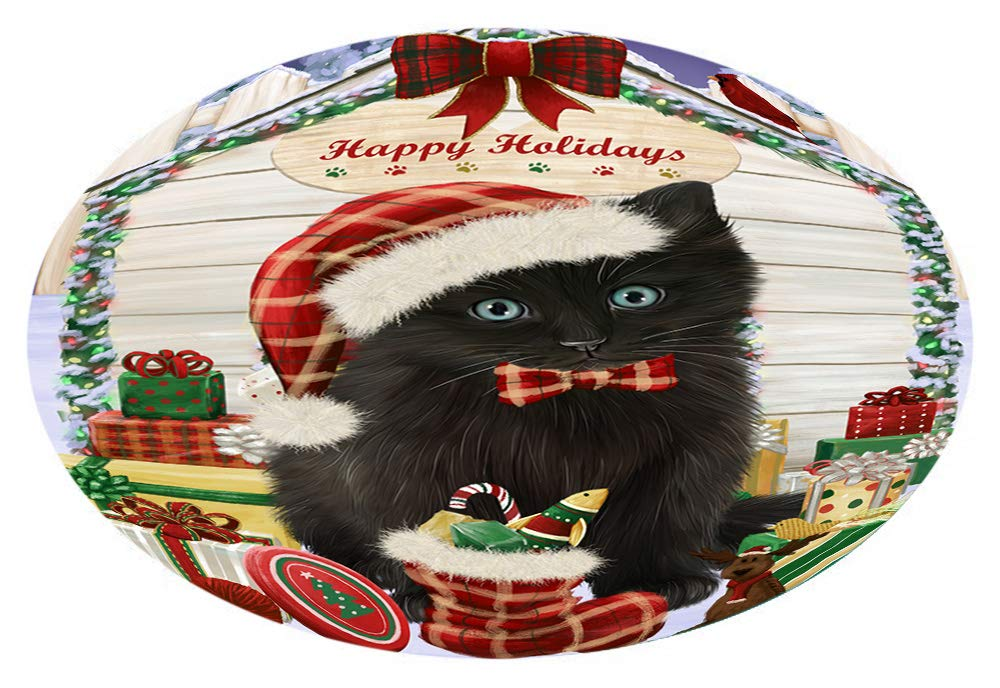 Doggie of the Day Happy Holidays Christmas Black Cat Presents Oval Envelope Seals OVE66556 (50)