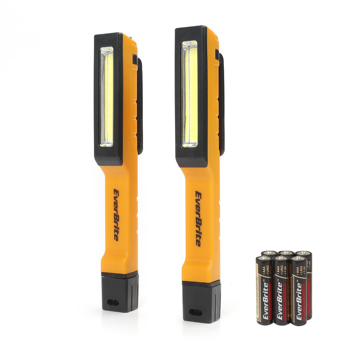 EverBrite COB Work Light 2 Pack 150 Lumen Pocket LED Flashlight with 180° Twist Magnetic Clip 6 AAA Batteries Included
