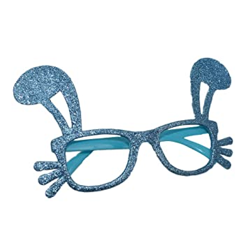 6644a449e6 Amazon.com  Amosfun Lovely Funny Easter Rabbit Shaped Party Glasses Fancy  Dress up Costume Frame Decoration Party Supplies Gifts  Toys   Games