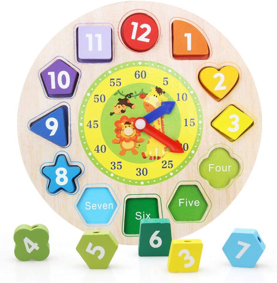 Yinuneronsty - Reloj educativo de madera con diseño de