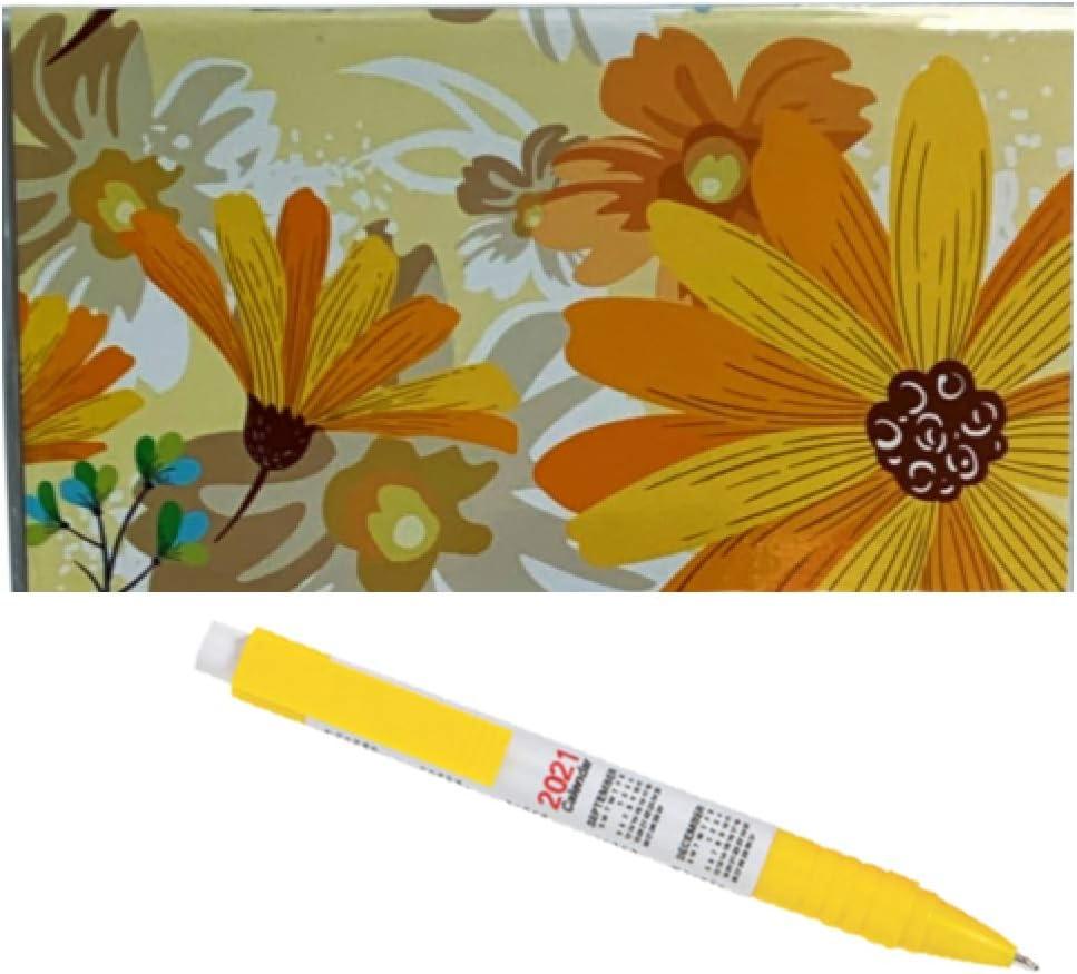 2-Year Pocket Planner 2021-2022 Monthly Personal Organizer & Calendar Ink Pen Blossom Flower Florals (Yellow)