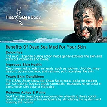 HeaBea Body Clear face Skin Mask Efficiently Acne blackhead remover,Reduces Pores Wrinkles Dead Sea Mud Masks Natural Minerals Treatment For All kinds Skin Type Beauty Care with Essential tool
