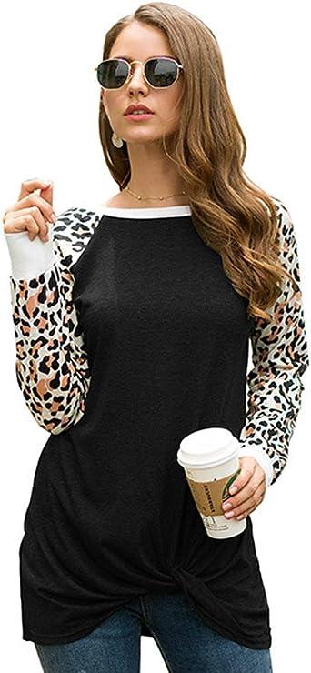 Mujeres Leopardo Camisas Invierno Cuello Redondo Casual Manga Larga Blusas Tops Jersey: Amazon.es: Ropa y accesorios