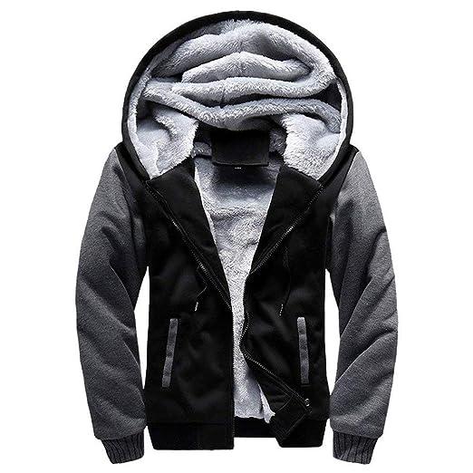 59ddd0dfa Amazon.com: Mens Warm Winter Coat Hoodie Fleece Suit Long Sleeve ...