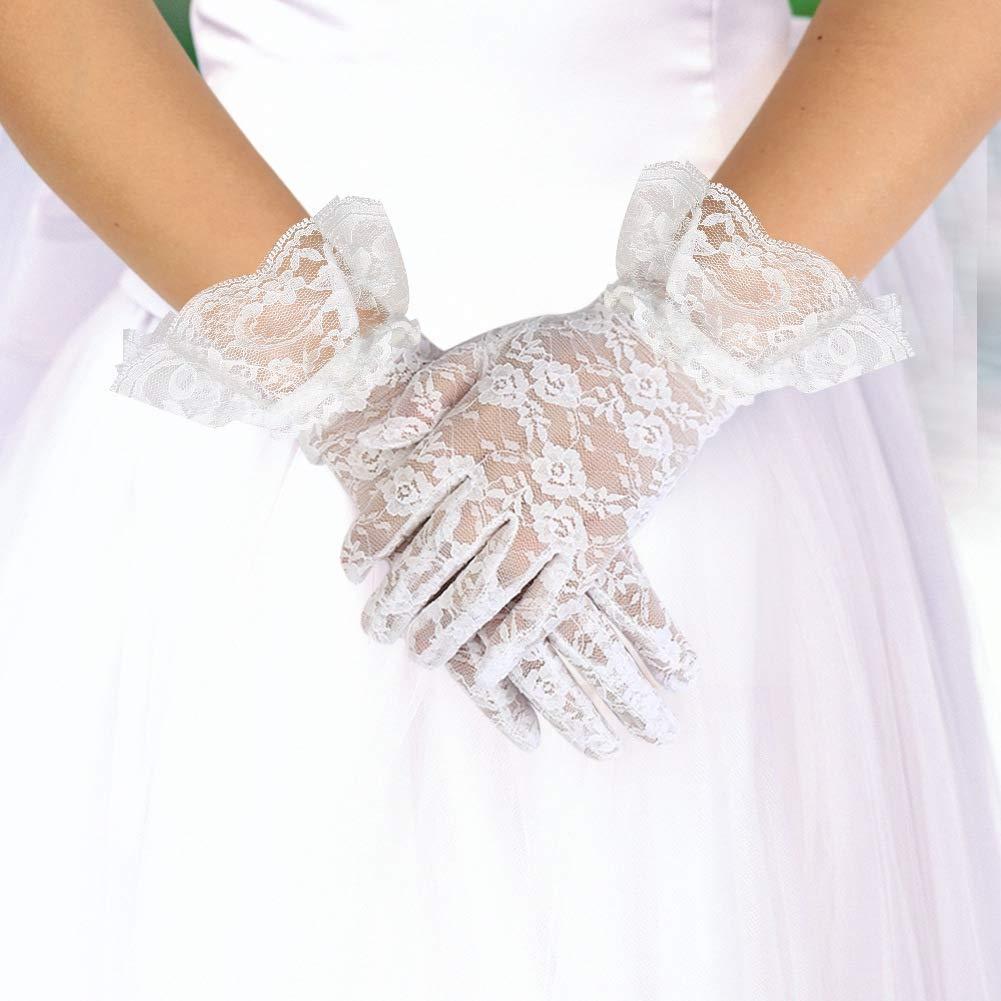 guanti estivi da donna in pizzo guanti protettivi UV per cene e feste ICEBLUEOR 2 paia di guanti corti in pizzo